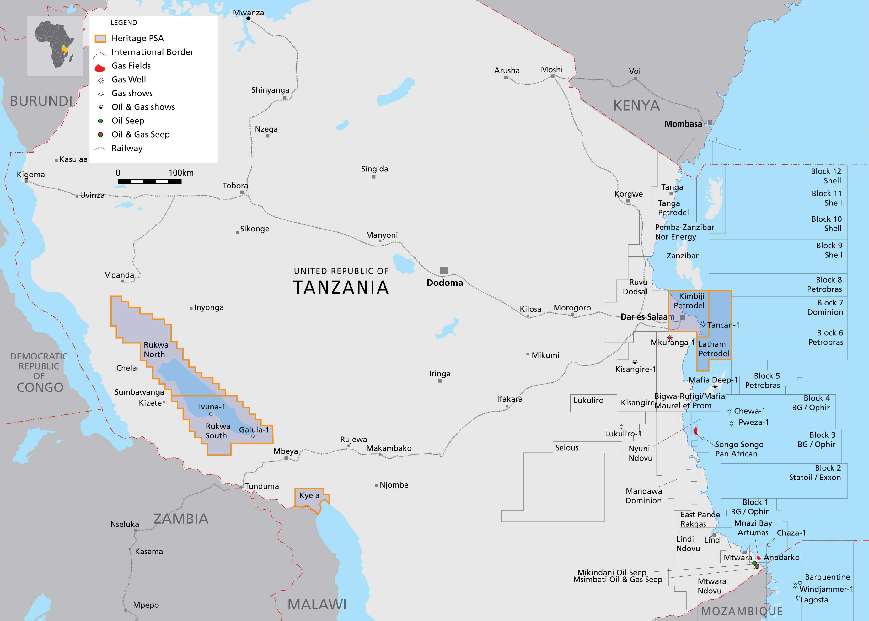The claims on Tanzanian oil and gas by different companies according to the map of Heritage Oil